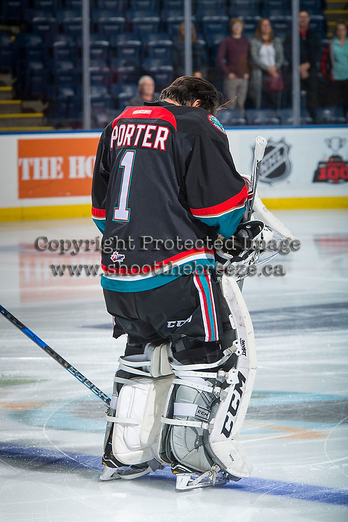 KELOWNA, CANADA - OCTOBER 20: James Porter #1 of the Kelowna Rockets stands on the blue line during the national anthem against the Portland Winterhawks on October 20, 2017 at Prospera Place in Kelowna, British Columbia, Canada.  (Photo by Marissa Baecker/Shoot the Breeze)  *** Local Caption ***