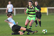 Forest Green Rovers Holly Timbrell(8) is tackled during the South West Womens Premier League match between Forest Greeen Rovers Ladies and Marine Academy Plymouth LFC at Slimbridge FC, United Kingdom on 5 November 2017. Photo by Shane Healey.