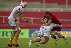September 1, 2018 - Limerick, Ireland - Tommy O'Donnell of Munster tackled by Jasper Wiese of Cheetahs during the Guinness PRO14 rugby match between Munster Rugby and Toyota Cheetahs at Thomond Park Stadium in Limerick, Ireland on September 1, 2018  (Credit Image: © Andrew Surma/NurPhoto/ZUMA Press)