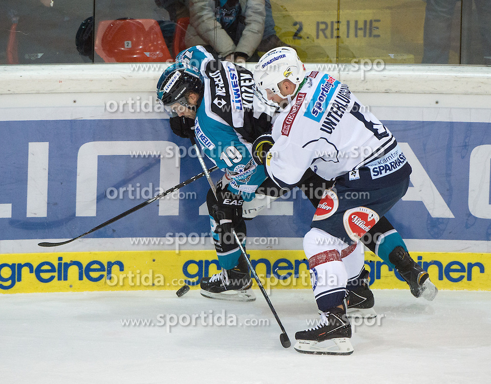 13.10.2015, Keine Sorgen Eisarena, Linz, AUT, EBEL, EHC Liwest Black Wings Linz vs EC VSV, 11. Runde, im Bild Andrew Jacob Kozek (EHC Liwest Black Wings Linz) und Gerhard Unterluggauer (EC VSV) // during the Erste Bank Icehockey League 11th round match between EHC Liwest Black Wings Linz and EC VSV at the Keine Sorgen Icearena, Linz, Austria on 2015/10/13. EXPA Pictures © 2015, PhotoCredit: EXPA/ Reinhard Eisenbauer