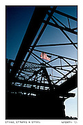 """a steel bridge spanning the Erie Canal with """"old Glory"""" flying proudly The Erie Canal, New York State"""