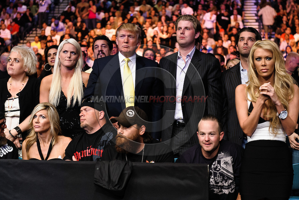 """LAS VEGAS, NEVADA, MAY 24, 2008: Donald Trump (center) is joined daughter Tiffany Trump (center left) and sons Eric (center right) and Donald Jr. along with adult entertainment actress Jenna Jameson (far fight) during """"UFC 84: Ill Will"""" inside the MGM Grand Garden Arena in Las Vegas"""