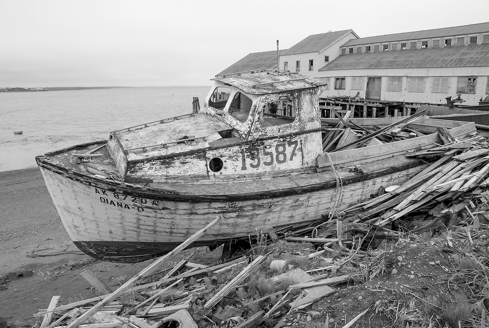 A washed up old seiner near Columbia Ward Cannery in Egigik, Alaska has seen its last catch.