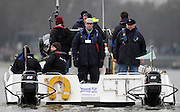 Putney. London.   Left. David SEARLE. CEO. Boat Race Co Ltd. and Right, Chas NEWENS CEO.  Chas Newens Marine, marshalling the flotilla, prior to the start of the 2011 University Boat Race over the  Championship Course - Putney to Mortlake.  Saturday 26/03/2011  [Mandatory Credit; Peter Spurrier/Intersport-images].