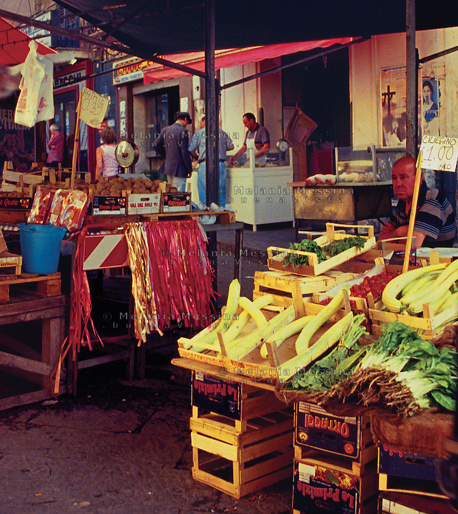 Historic Ballaro' market in Palermo.<br /> Mercato Ballaro' di Palermo.