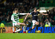 4th April 2018, Celtic Park, Glasgow, Scotland; Scottish Premier League football, Celtic versus Dundee; Paul McGowan of Dundee goes past Jack Hendry of Celtic