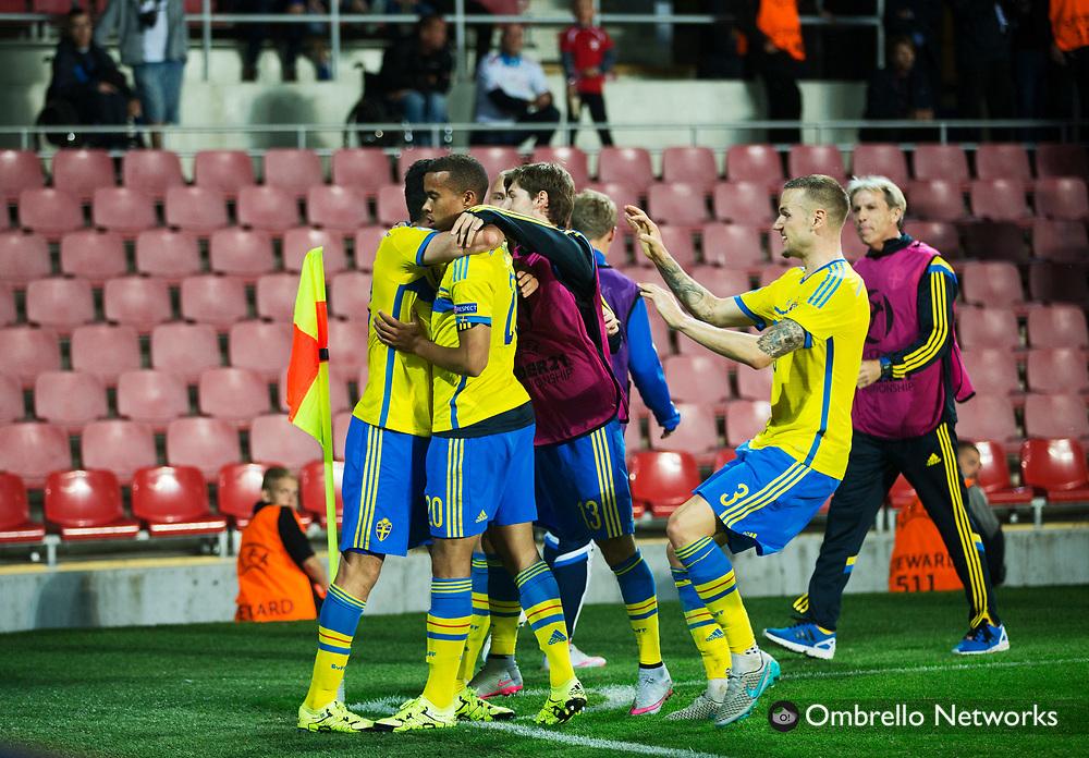 PRAG 20150627<br /> U21 LANDSLAG EM-SEMIFINAL DANMARK VS SVERIGE<br /> ROBIN QUAISON JUBLAR VID 1-3