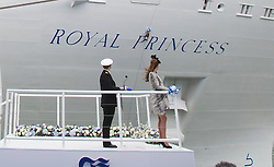 SOUTHAMPTON - UK - 13 JUNE 2013: Kate, The Duchess of Cambridge attends a Princess Cruises' ship naming ceremony at Ocean Terminal, Southampton.<br />  Her Royal Highness, as the ship's Godmother, will name Royal Princess. The Duchess of Cambridge will attend the official ceremony, which will involve a blessing, the celebratory tradition of smashing a bottle over the hull of the ship