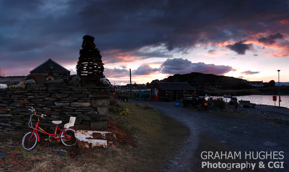 Easdale Island village and jetty.