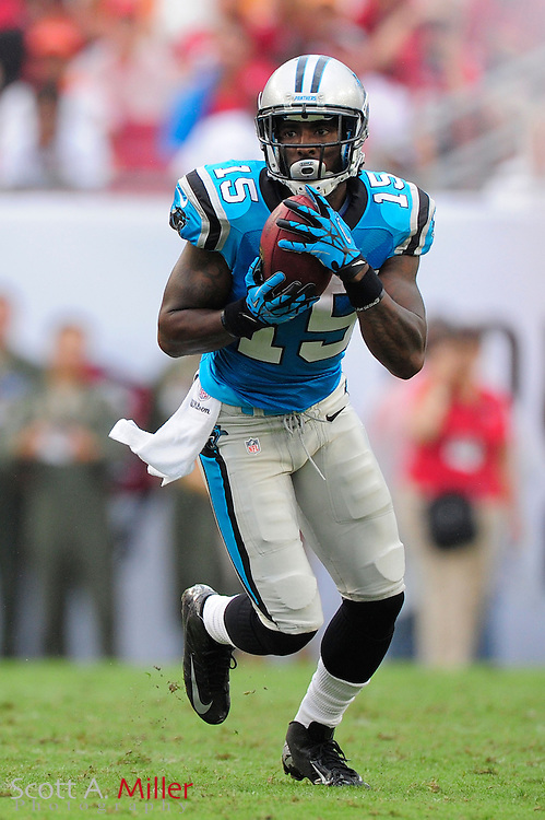 Carolina Panthers wide receiver Joe Adams (15) during the Panthers game against the Tampa Bay Buccaneers at Raymond James Stadium  on September 9, 2012 in Tampa, Florida.  The Bucs won 16-10..©2012 Scott A. Miller...