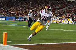 SANTA CLARA, CA - DECEMBER 05:  Fullback Jahleel Pinner #38 of the USC Trojans scores a touchdown against the Stanford Cardinal during the third quarter of the Pac-12 Championship game at Levi's Stadium on December 5, 2015 in Santa Clara, California. The Stanford Cardinal defeated the USC Trojans 41-22. (Photo by Jason O. Watson/Getty Images) *** Local Caption *** Jahleel Pinner