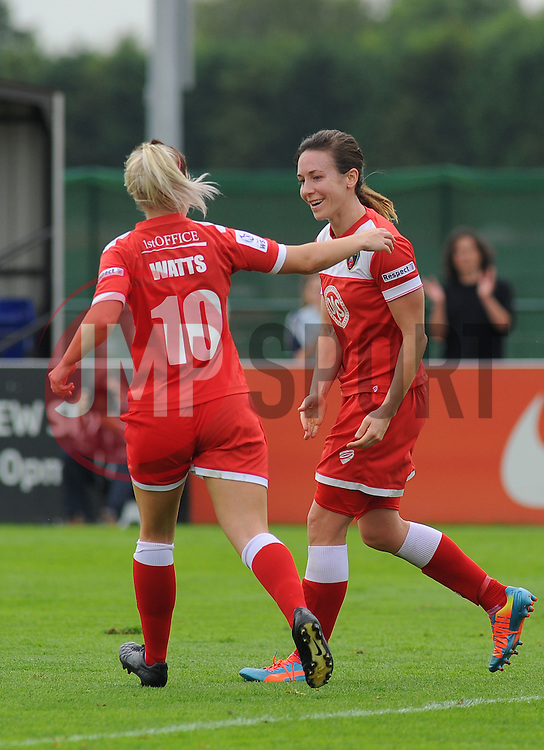 Bristol Academy Womens' Corinne Yorston celebrates her first goal with team mates. - Photo mandatory by-line: Nizaam Jones- Mobile: 07583 387221 - 28/09/2014 - SPORT - Women's Football - Bristol - SGS Wise Campus - BAWFC v Man City Ladies - sport