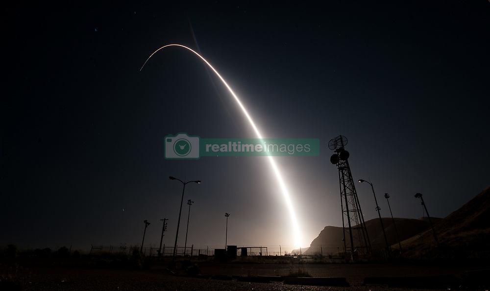 April 26, 2017 - Vandenberg Air Force Base, California, United States of America - A Air Force Global Strike Command Minuteman III intercontinental ballistic missile with a simulated warhead is launched during an operational test at Vandenberg Air Force Base April 26, 2017 Vandenberg, California. The test comes during increased tensions with North Korea. (Credit Image: © Ian Dudley/Planet Pix via ZUMA Wire)
