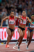 Great Britain, London - 2017 August 12: (L) Salome Kora and (R) Mujinga Kambundji both from Switzerland compete in women&rsquo;s 4x100 meters relay final during IAAF World Championships London 2017 Day 9 at London Stadium on August 12, 2017 in London, Great Britain.<br /> <br /> Mandatory credit:<br /> Photo by &copy; Adam Nurkiewicz<br /> <br /> Adam Nurkiewicz declares that he has no rights to the image of people at the photographs of his authorship.<br /> <br /> Picture also available in RAW (NEF) or TIFF format on special request.<br /> <br /> Any editorial, commercial or promotional use requires written permission from the author of image.