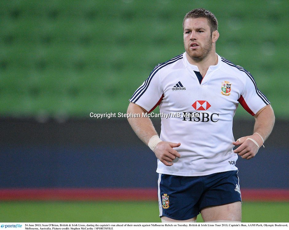 24 June 2013; Sean O'Brien, British & Irish Lions, during the captain's run ahead of their match against Melbourne Rebels on Tuesday. British & Irish Lions Tour 2013, Captain's Run, AAMI Park, Olympic Boulevard, Melbourne, Australia. Picture credit: Stephen McCarthy / SPORTSFILE