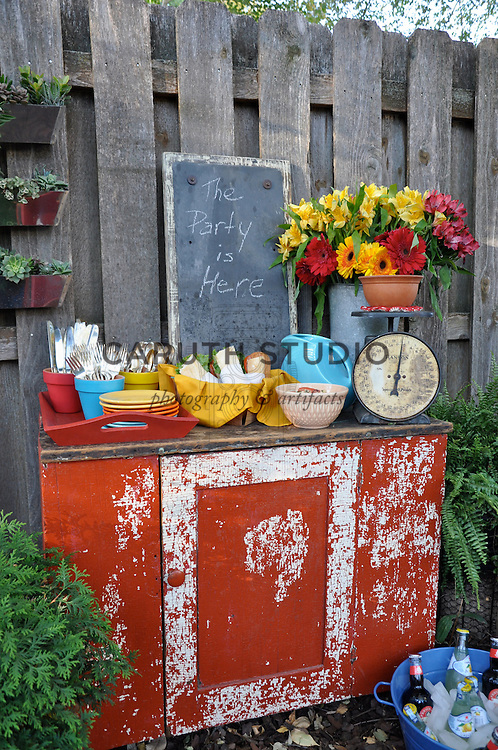 Retro outdoor party, serving cabinet