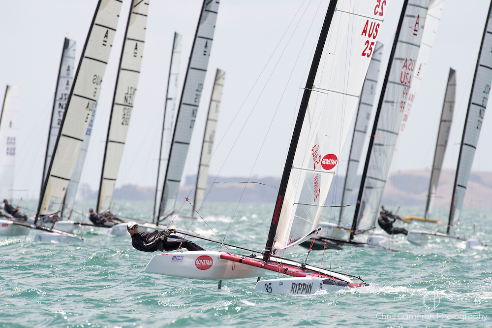 The start of race four of the A Class World championships regatta being sailed at Takapuna in Auckland. 12/2/2014