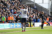 Jermaine Beckford celebrates putting Preston 1-0 up during the Sky Bet Championship match between Preston North End and Milton Keynes Dons at Deepdale, Preston, England on 16 April 2016. Photo by Pete Burns.