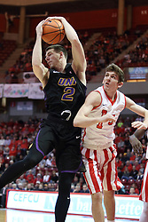 17 February 2018:  Klint Carlson gets position on Matt Hein for a rebound during a College mens basketball game between the University of Northern Iowa Panthers and Illinois State Redbirds in Redbird Arena, Normal IL