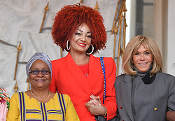 Exclusive - France's first lady Brigitte Macron welcomes Mali's first lady Keïta Aminata Maiga, Cameroun's first lady Chantal Biya at the Elysee presidential palace in Paris, France, on November 12, 2019. Photo by Christian Liewig/ABACAPRESS.COM