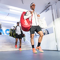 Roger Federer of Switzerland and Rafael Nadal of Spain ahead of the men's final on day fourteen of the 2017 Australian Open at Melbourne Park on January 29, 2017 in Melbourne, Australia.<br /> (Ben Solomon/Tennis Australia)
