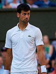 LONDON, ENGLAND - Saturday, July 7, 2018: Novak Djokovic (SRB) during the Gentlemen's Singles 3rd Round match on day six of the Wimbledon Lawn Tennis Championships at the All England Lawn Tennis and Croquet Club. (Pic by Kirsten Holst/Propaganda)