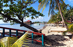 Partial waterfront view of West End,the largest settlement on Roatan.