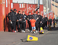 Dundee United make the traditional walk up Tannadice Street ahead of the derby  - Dundee v Dundee United, Ladbrokes Scottish Premiership at Dens Park<br /> <br /> <br />  - &copy; David Young - www.davidyoungphoto.co.uk - email: davidyoungphoto@gmail.com