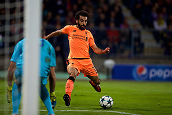 MARIBOR, SLOVENIA - Tuesday, October 17, 2017: Liverpool's Mohamed Salah scores the third goal during the UEFA Champions League Group E match between NK Maribor and Liverpool at the Stadion Ljudski vrt. (Pic by David Rawcliffe/Propaganda)