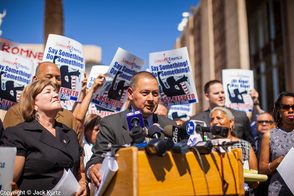 25 JUNE 2012 - PHOENIX, AZ:   Arizona State Senator STEVE GALLARDO, speaks out in favor of the US Supreme Court's decision overturning most of SB1070, Arizona's tough anti-immigration bill. Gallardo was an outspoken opponent of the law. The case, US v. Arizona, determined whether or not Arizona's tough anti-immigration law, popularly known as SB1070 was constitutional. The court struck down most of the law but left one section standing, the section authorizing local police agencies to check the immigration status of people they come into contact with.      PHOTO BY JACK KURTZ