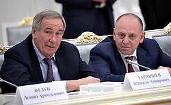 October 3, 2017 - Moscow, Russia - October 3, 2017. - Russia, Moscow. - President of the Russian Tennis Federation Shamil Tarpishchev (left), and TMK Board Chairman Dmitry Pumpyansky at a meeting of the Presidential Council for Development of Physical Culture and Sport and the Supervisory Board of the 2018 FIFA World Cup Russia Local Organizing Committee. (Credit Image: © Russian Look via ZUMA Wire)
