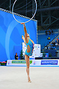 Son Yeon Jae during qualifying  at hoop in Pesaro World Cup 01 April 2016. Yeon Jae is an Korean individual rhythmic gymnast, she was born  28 May, 1994 Seoul, Republic of Korea. After the 2016 Olympic Games Son decided to stop the competitive activity.