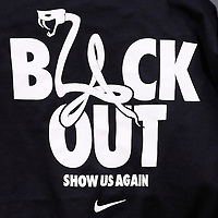 "10 December 2013: Close view of Nike ""Black Out"" T shirt which was given to all the fans attending to the game during the Phoenix Suns 114-108 victory over the Los Angeles Lakers at the Staples Center, Los Angeles, California, USA."