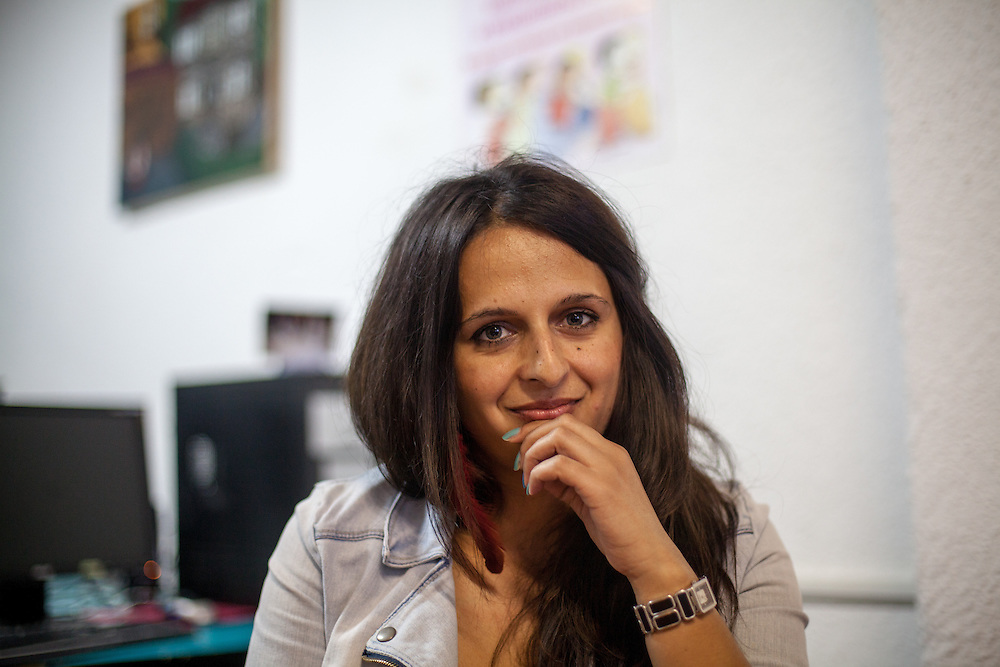 Portrait of Romina Kajtazova at the office of NGO Kham for whom she is working as a paralegal in the city of Delcevo located in Macedonia.