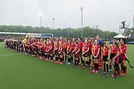 Eindhoven - Oranje Rood - Amsterdam  Dames, 1e ronde Playoffs, Eerste wedstrijd, Hoofdklasse Hockey Dames, Seizoen 2017-2018, 29-04-2018, Oranje Rood - Amsterdam 0-3,  lineup<br /> <br /> (c) Willem Vernes Fotografie
