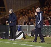 Holland coach Cor Pot and Scotland coach Billy Stark - Scotland v Holland - UEFA U21 European Chamoionship qualifier at St Mirren Park..© David Young - .5 Foundry Place - .Monifieth - .Angus - .DD5 4BB - .Tel: 07765 252616 - .email: davidyoungphoto@gmail.com.web: www.davidyoungphoto.co.uk