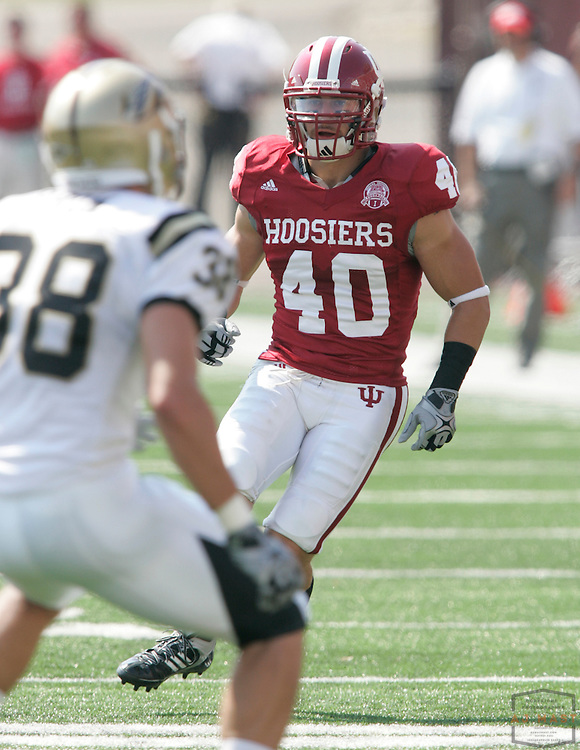 12 September 2009: Indiana safety Matt Kurz (40) as the Indiana Hoosiers played the Western Michigan Broncos in a college football game in Bloomington, Ind.