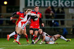 Bristol Rugby replacement Gareth Maule is tackled by Ulster Ravens Outside Centre Callum Patterson - Mandatory byline: Rogan Thomson/JMP - 13/11/2015 - RUGBY UNION - Kingspan Stadium - Belfast, Northern Ireland - Ulster Ravens v Bristol Rugby - The British & Irish Cup Pool 2.