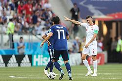 June 28, 2018 - Wolgograd, Russia - Robert Lewandowski (R) of Poland reacts during the 2018 FIFA World Cup Russia group H match between Japan and Poland at Volgograd Arena on June 28, 2018 in Volgograd, Russia. (Credit Image: © Foto Olimpik/NurPhoto via ZUMA Press)
