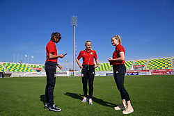 LARNACA, CYPRUS - Wednesday, March 7, 2018: Wales' Amina Vine, Charlie Estcourt before the Cyprus Women's Cup match between Wales and Austria on day nine of the Cyprus Cup tournament at the AEK Arena - Georgios Karapatakis. (Pic by David Rawcliffe/Propaganda)