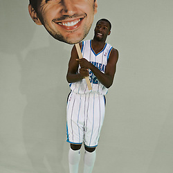 26 September 2008:  New Orleans Hornets forward Julian Wright (32) poses with a Peja-head sign during media day for the New Orleans Hornets at the New Orleans Arena in New Orleans, LA.