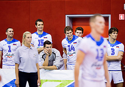 Andrej Flajs of Slovenia, Matej Vidic of Slovenia, Alen Sket of Slovenia, Jan Pokersnik of Slovenia, Danijel Koncilja of Slovenia, Jan Planinc of Slovenia during friendly volleyball match between National teams of Slovenia and Bulgaria on August 29, 2013 in Hoce, Slovenia. Slovenia defeated Bulgaria 3-1. (Photo by Vid Ponikvar / Sportida.com)