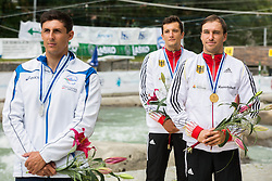 Second placed Andrea Romeo of Italy, Sebastian Schubert of Germany, third placed and Fabian Doerfler of Germany, Winner  in Final of Kayak K1 Men during ICF Canoe Slalom World Cup Tacen 2014 on June 14, 2014 in Ljubljana, Slovenia. Photo by Vid Ponikvar / Sportida