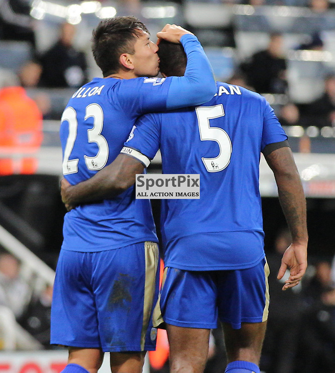 Newcastle United v Leicester City English Premiership 21 November 2015; Leonardo Ulloa (Leicester City, 23) celebrates his goal with Wes Morgan (captain) (Leicester City, 5) during the Newcastle v Leicester City English Premiership match played at St. James' Park, Newcastle; <br /> <br /> &copy; Chris McCluskie | SportPix.org.uk