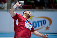 Ryan Whiting of USA competes in men's shot put final during the IAAF Athletics World Indoor Championships 2014 at Ergo Arena Hall in Sopot, Poland.<br /> <br /> Poland, Sopot, March 7, 2014.<br /> <br /> Picture also available in RAW (NEF) or TIFF format on special request.<br /> <br /> For editorial use only. Any commercial or promotional use requires permission.<br /> <br /> Mandatory credit:<br /> Photo by © Adam Nurkiewicz / Mediasport