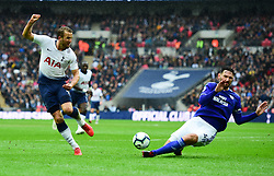 Harry Kane of Tottenham Hotspur shot is blocked by Sean Morrison of Cardiff City - Mandatory by-line: Alex James/JMP - 06/10/2018 - FOOTBALL - Wembley Stadium - London, England - Tottenham Hotspur v Cardiff City - Premier League