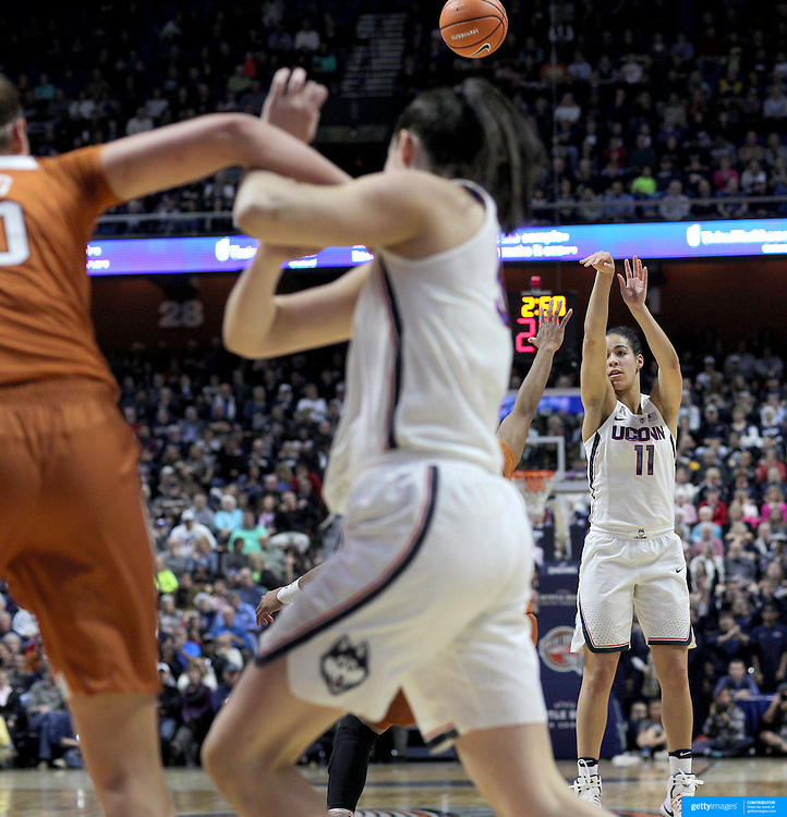 UNCASVILLE, CONNECTICUT- DECEMBER 4: Kia Nurse #11 of the Connecticut Huskies shoots for three points during the UConn Huskies Vs Texas Longhorns, NCAA Women's Basketball game in the Jimmy V Classic on December 4th, 2016 at the Mohegan Sun Arena, Uncasville, Connecticut. (Photo by Tim Clayton/Corbis via Getty Images)