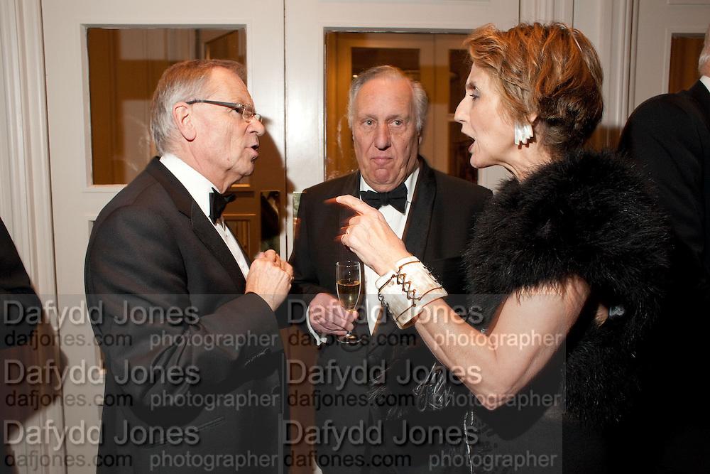 LORD JEFFREY ARCHER; SIR FREDERICK FORSYTH; LADY FORSYTH, 80th anniversary gala dinner for the FoylesÕ Literary Lunch. Ballroom. Grosvenor House Hotel. Park Lane. London. 21 October 2010. -DO NOT ARCHIVE-© Copyright Photograph by Dafydd Jones. 248 Clapham Rd. London SW9 0PZ. Tel 0207 820 0771. www.dafjones.com.<br /> LORD JEFFREY ARCHER; SIR FREDERICK FORSYTH; LADY FORSYTH, 80th anniversary gala dinner for the Foyles' Literary Lunch. Ballroom. Grosvenor House Hotel. Park Lane. London. 21 October 2010. -DO NOT ARCHIVE-© Copyright Photograph by Dafydd Jones. 248 Clapham Rd. London SW9 0PZ. Tel 0207 820 0771. www.dafjones.com.