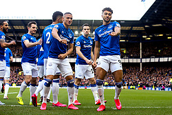 Dominic Calvert-Lewin of Everton celebrates with teammate Richarlison after scoring a goal to make it 1-0 - Mandatory by-line: Robbie Stephenson/JMP - 01/03/2020 - FOOTBALL - Goodison Park - Liverpool, England - Everton v Manchester United - Premier League