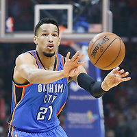 21 December 2015:  Oklahoma City Thunder guard Andre Roberson (21) passes the ball during the Oklahoma City Thunder 100-99 victory over the Los Angeles Clippers, at the Staples Center, Los Angeles, California, USA.